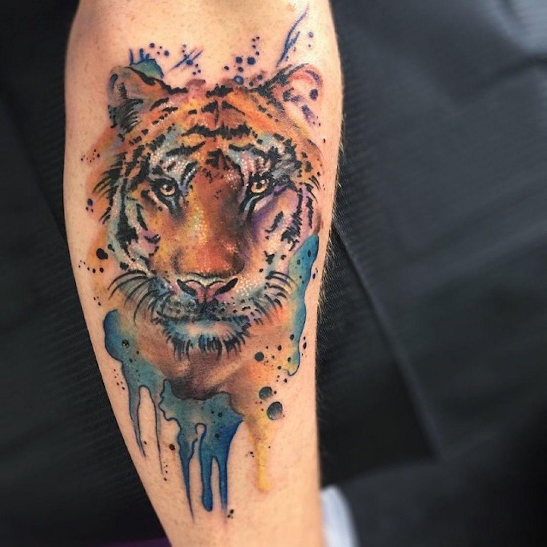 ลายสักเสือ Water color