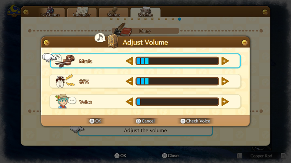 "An image of all of the settings available in game. There are options for ""Music"" ""SFX"" and ""Voice""."