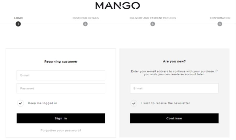 Mango's e-commerce site makes sure that they don't heckle the customer buying decision by making registration mandatory