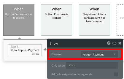 Using Bubble's visual workflow editor to display a payment form