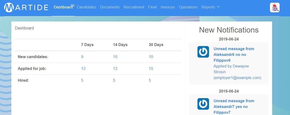 Shipowner's dashboard page on the Martide maritime recruitment website