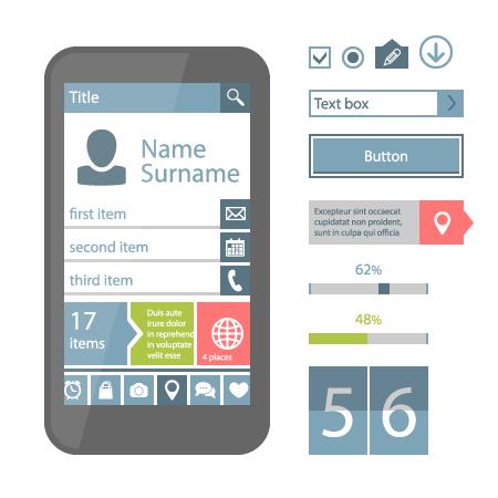 Mobile flat UI elements design