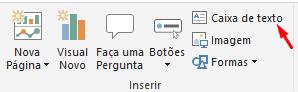captura de tela: Criando caixa de texto no Relatório do Power BI.png