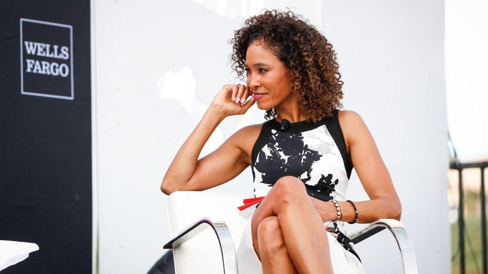NEWPORT BEACH, CA - OCTOBER 1: Sage Steele moderates the Women in Leadership panel at the espnW Summit held at Resort at Pelican Hill on October 1, 2018 in Newport Beach, California. (Photo by