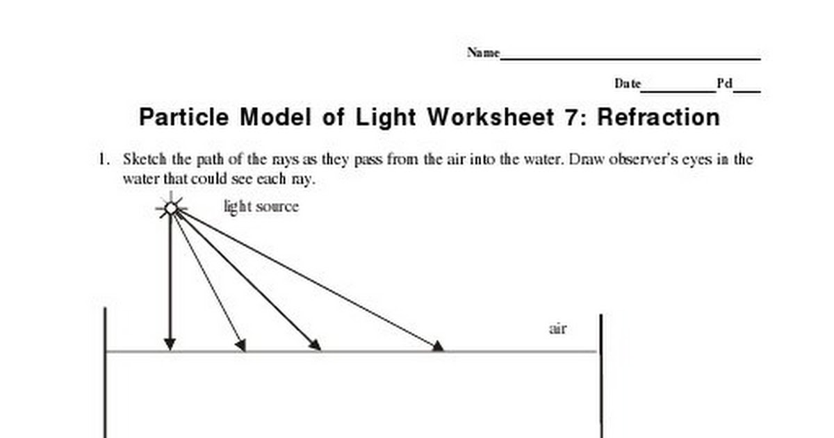Worksheets Refraction Worksheet reflection and refraction worksheet pixelpaperskin collection of sharebrowse