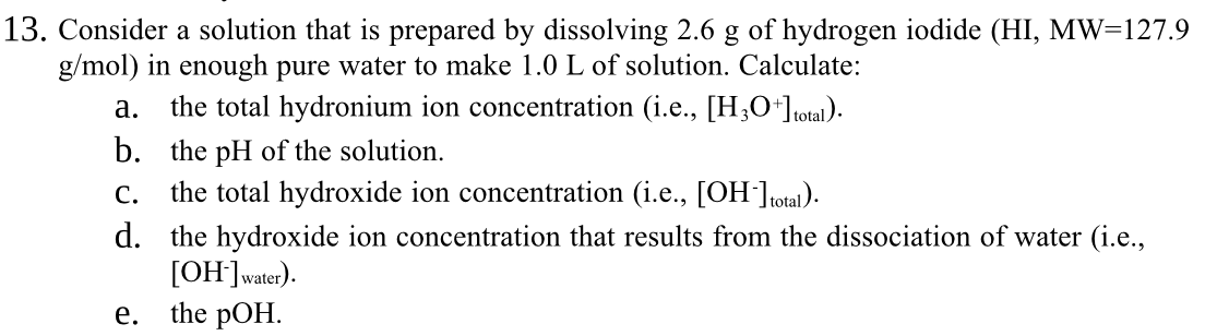 Worksheets Ph & Poh Russian Answer Work Sheet chemistry archive march 08 2017 chegg com 13 consider a solution that is prepared by dissolving 2 6 g of hydrogen iodide