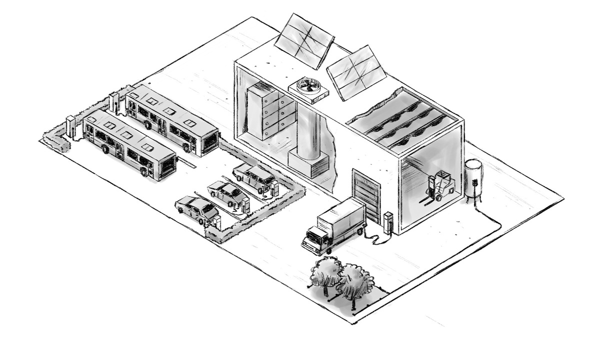 An illustration of a modern warehouse showing electric buses and cars, an electric truck charging at the doc, a wastewater system being used to water trees, and solar on the rooftop.
