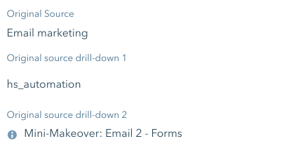 Email marketing source & drill-downs