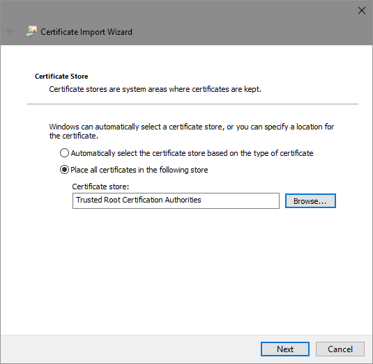 trusted root certificate