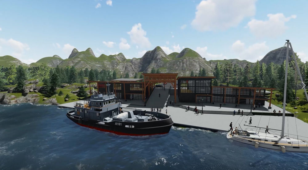 Sitka Sound Cruise Terminal in Sitka Alaska design rendering by Canadian Timberframes Ltd