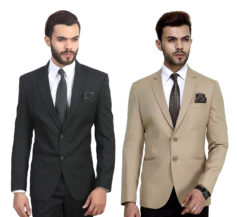 MANQ Men's Slim-Fit Combo Formal Blazer