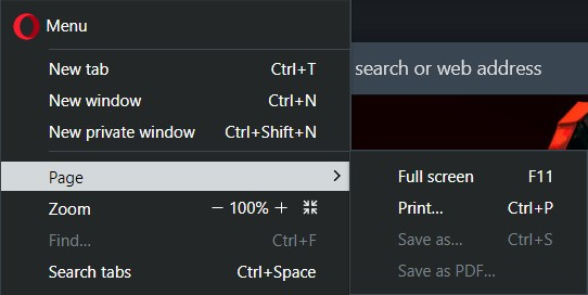 Click on the small Opera icon to open the Customize and Control menu and select Fullscreen from the Page sub-menu, above the Zoom option.