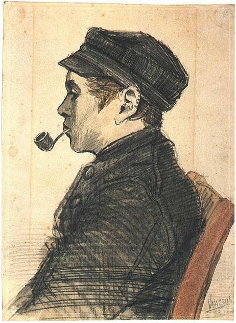 Vincent van Gogh's Hombre joven con una pipa Drawing