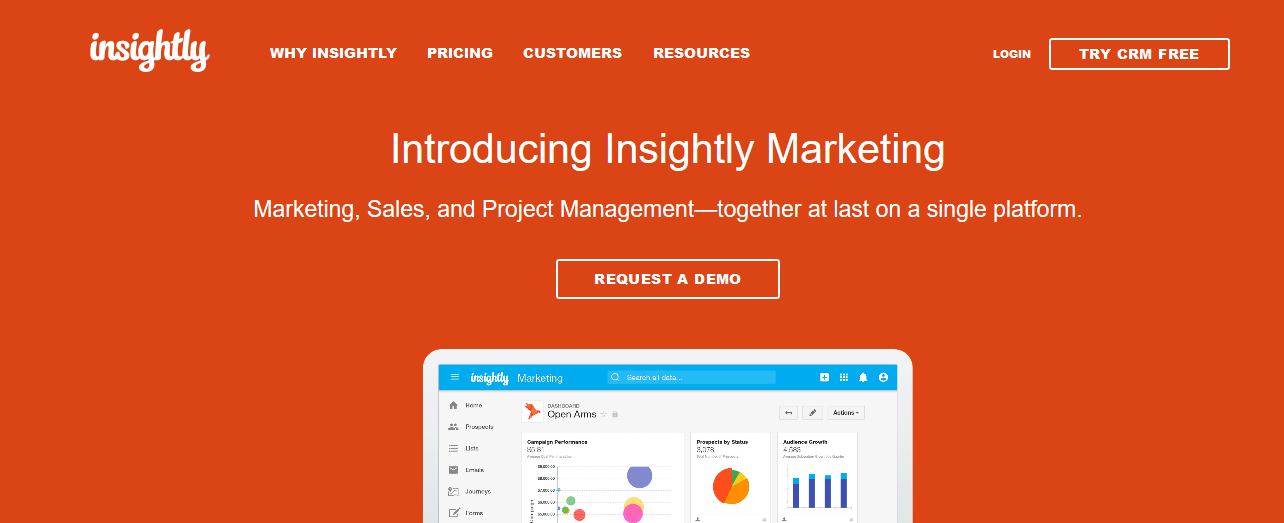 Insightly CRM with marketing, sales and project management