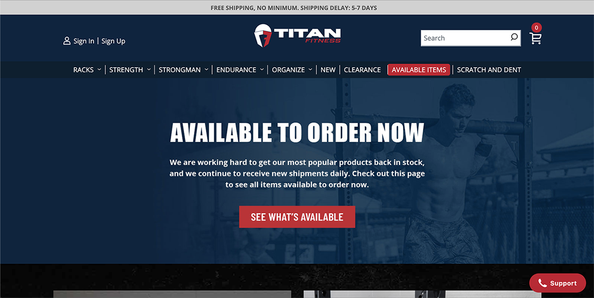 Titan Fitness Website Screenshot