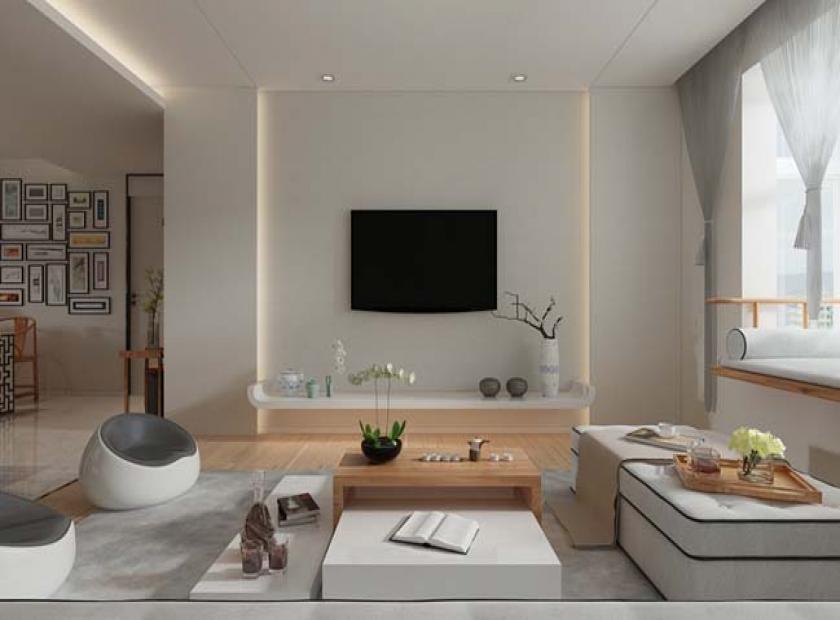 Phòng khách đơn giản với gam màu trắng