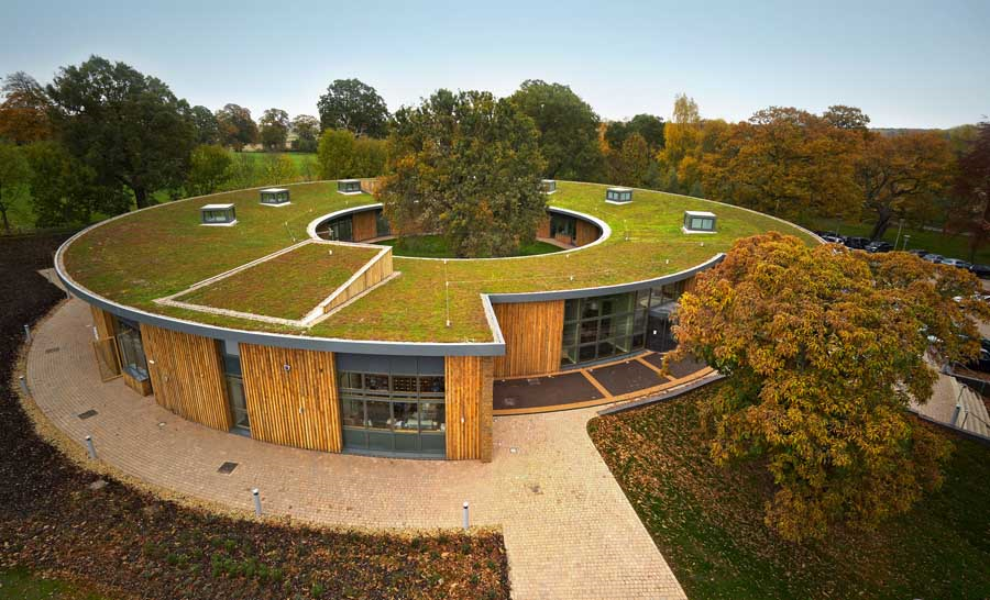 a house with green roof