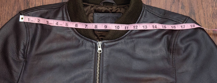"""Find a lightweight jacket that fits you well in the shoulders, sleeves, and front length. Zip it up, lay it out flat on a table, and measure from shoulder seam to shoulder seam. Do NOT use a suit jacket.  Make sure you pull the jacket taut before measuring.  I measured 17"""" here."""