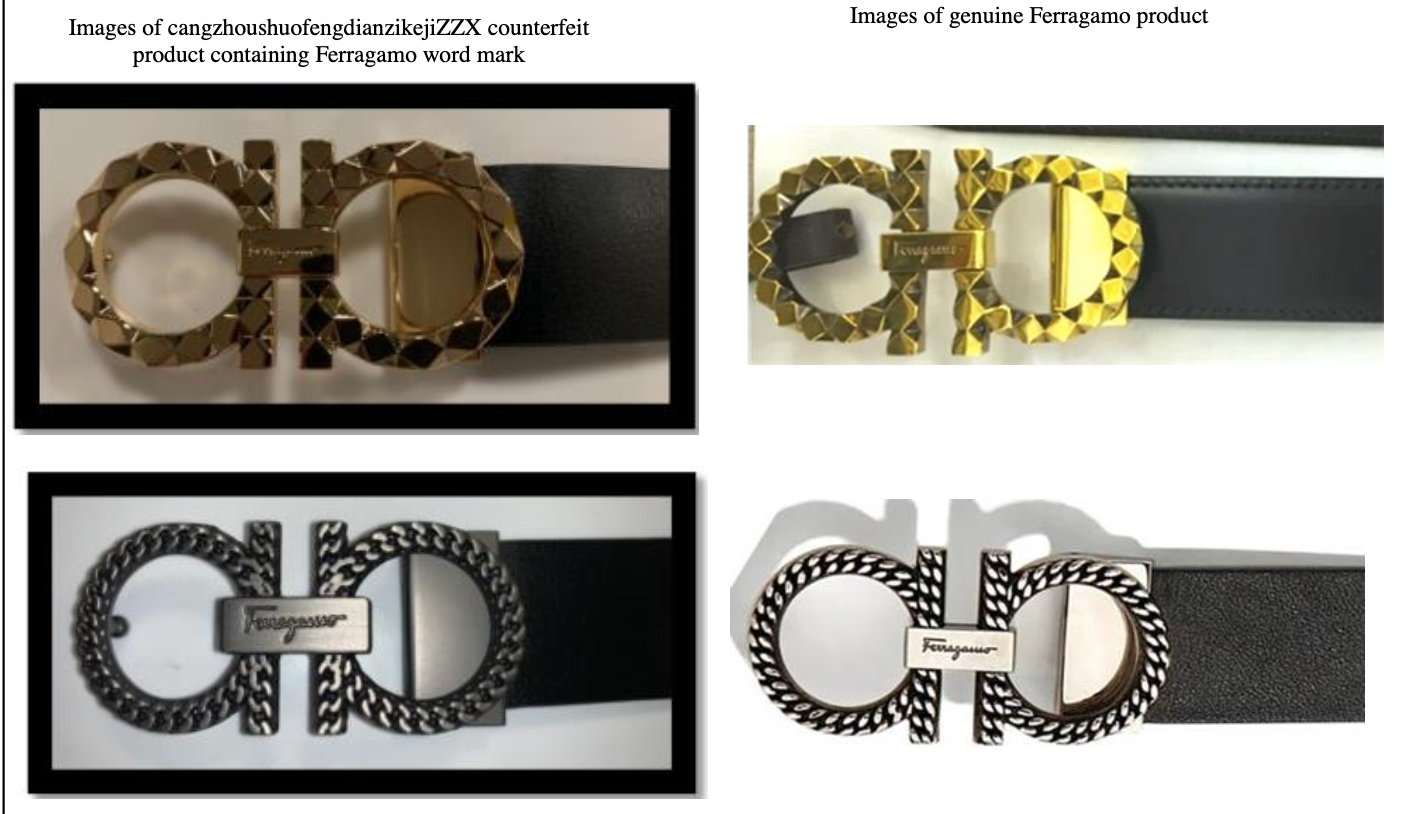 An image from the complain, showing four photographs taken of genuine and allegedly counterfeit products side-by-side.