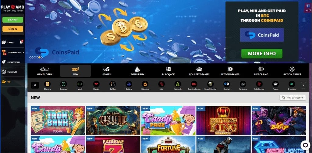 PlayAmo Casino New Casino Games