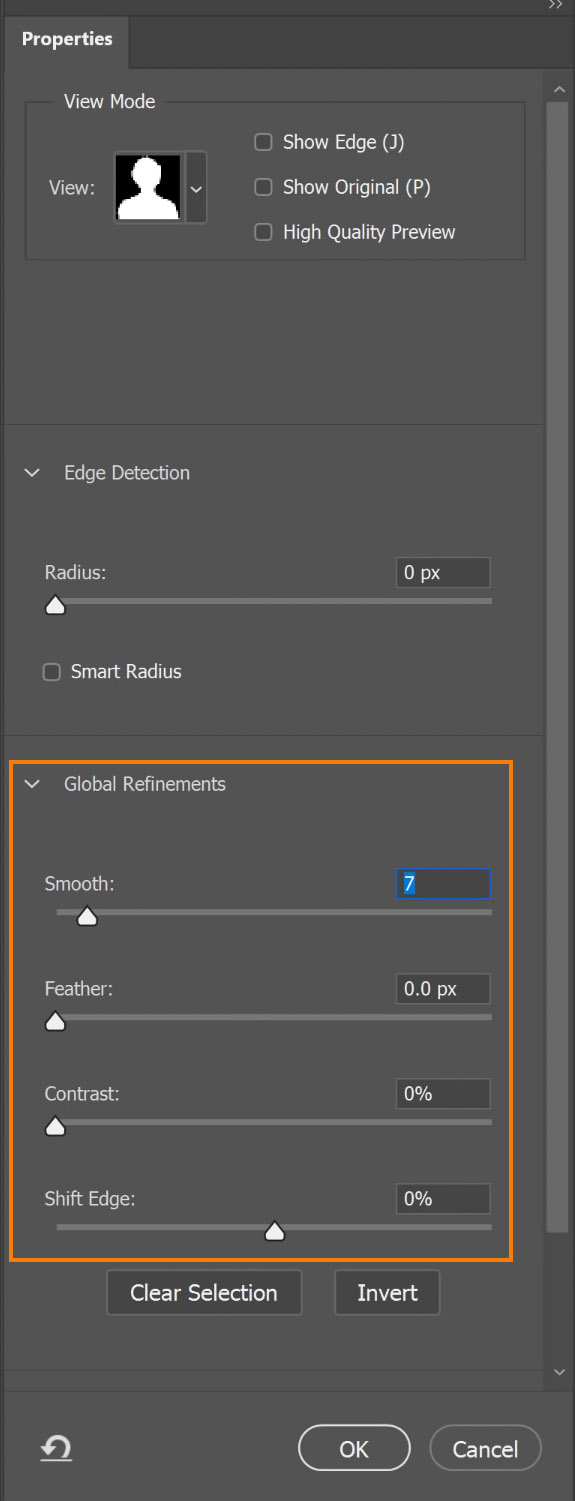 Under Global Refinements, adjust the Smooth, Contrast sliders, and Shift Edge sliders to refine the edges of your mask