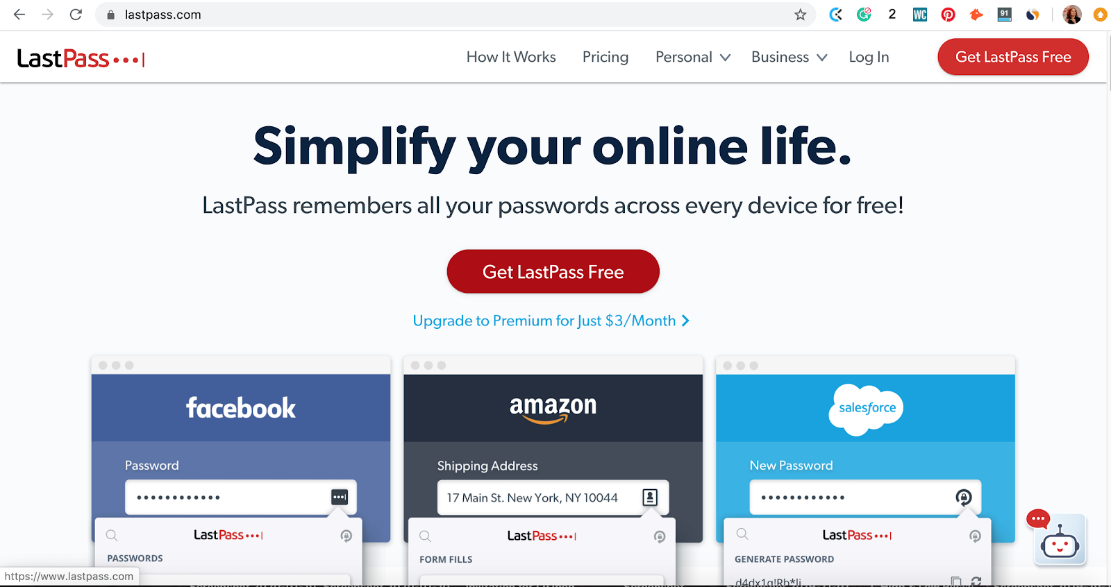 Landing page of LastPass password manager app. Part of the article by Hana Clode Marketing 'LastPass Password Manager - Apps to Make Your Life Easier'.