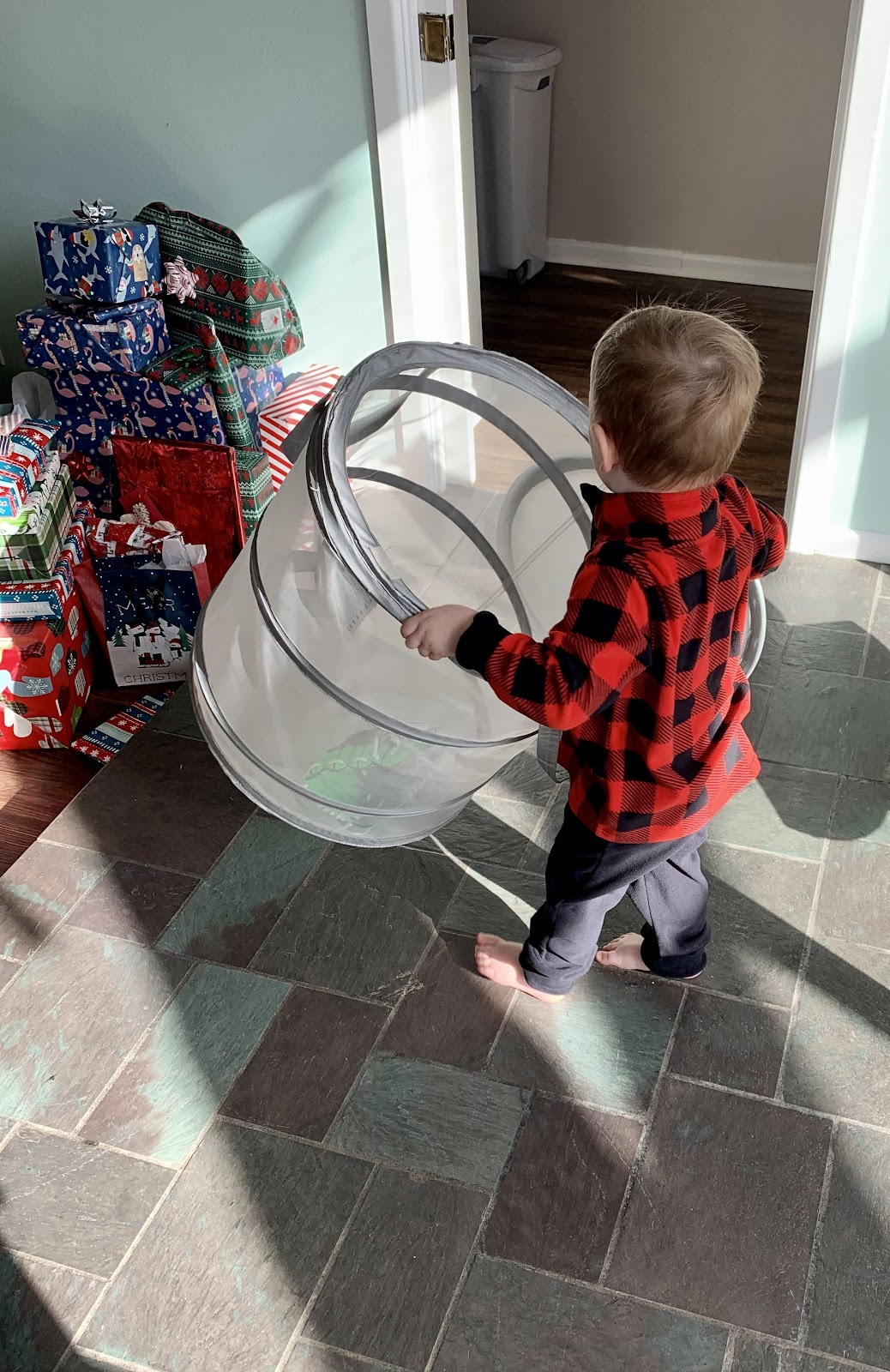 right sized basket for kids making a mess