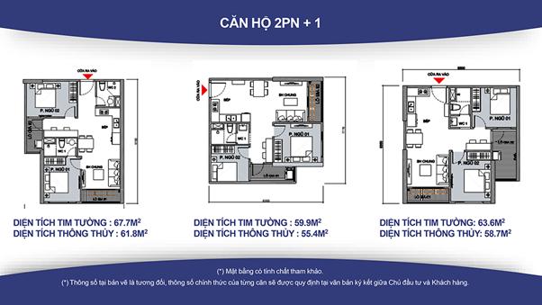 căn hộ 2 phòng ngủ +1