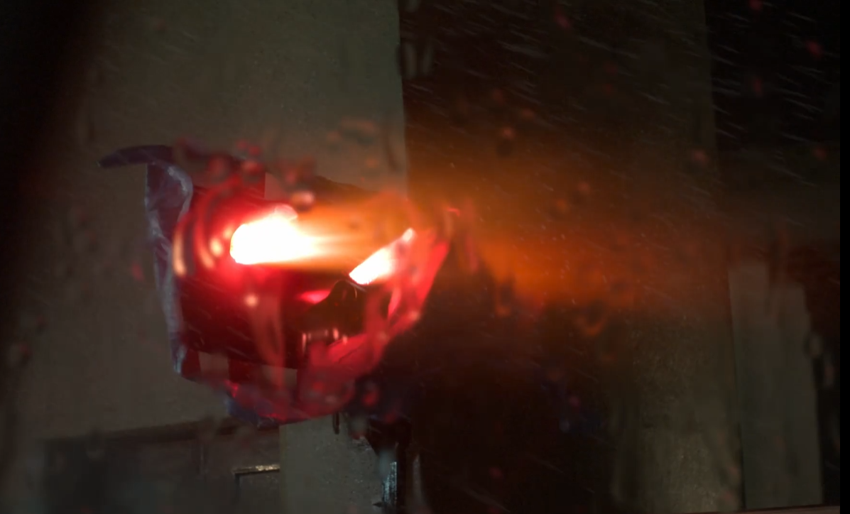 Final VFX comp of the scary demon tarpaulin face from ITV's Too Close.