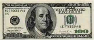 Descrição: Nota americana de cem dólares
