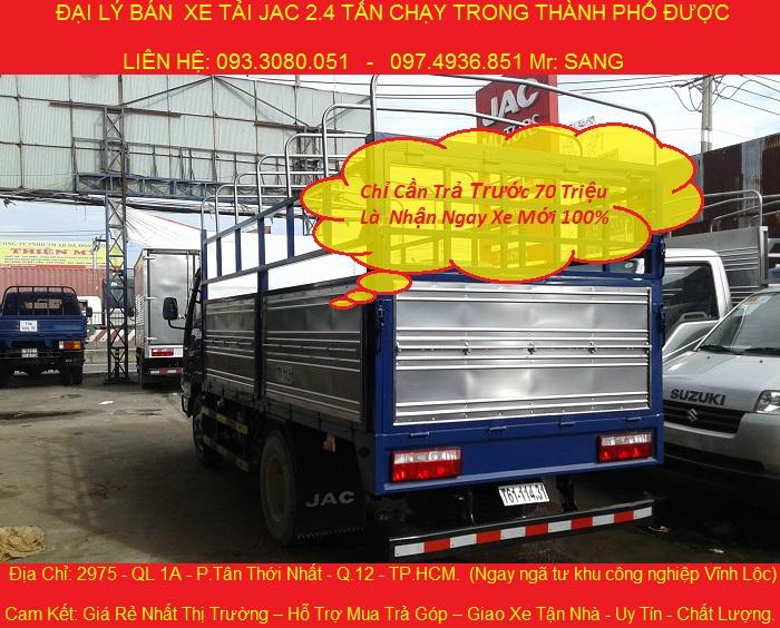 gia xe tai jac 24 tan thung kin xe tai jac 2t4 chay vao thanh pho duoc