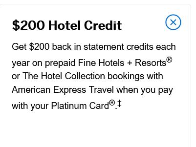 $200 hotel credit