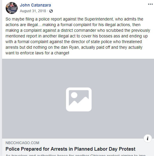 Facebook post by Catanzara with link to reporting abut police planning for arrests in a Labor Day Protest