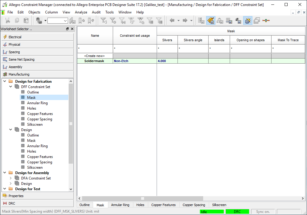 Screenshot of constraint manager helping with manufacturing cost effectiveness analysis