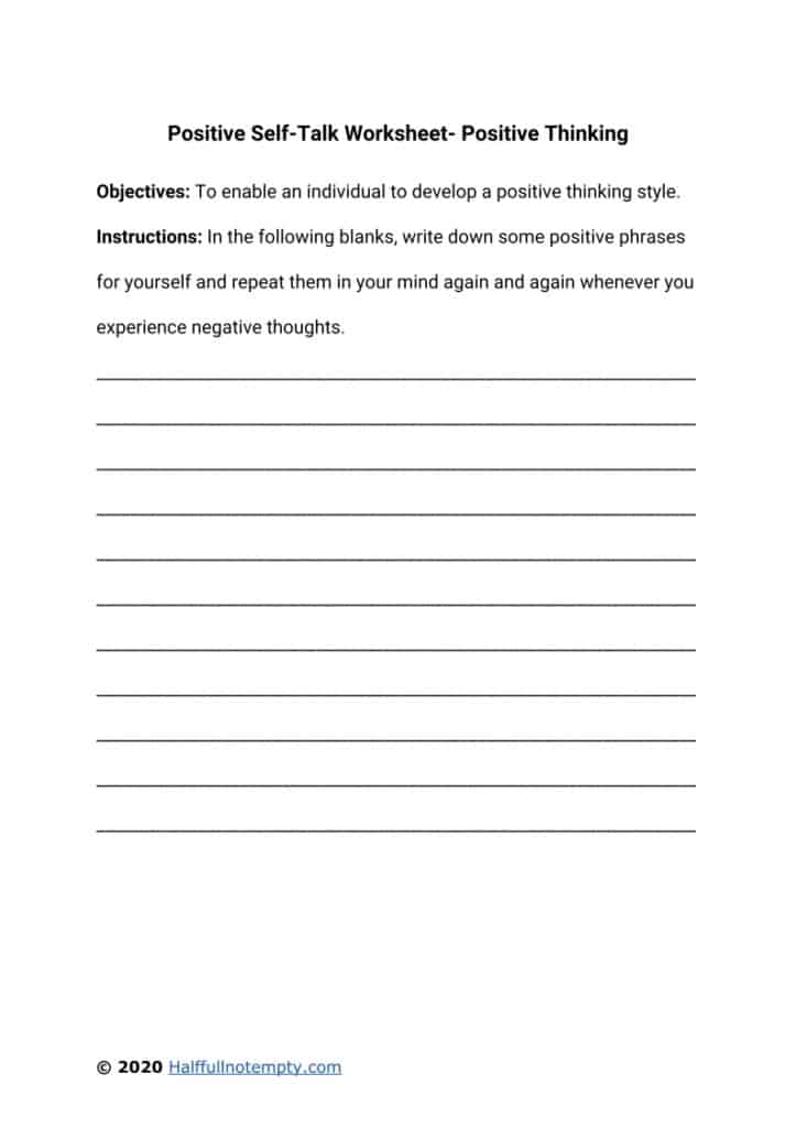Positive Self-Talk Worksheets (7)