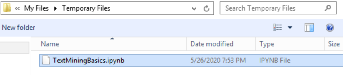 screenshot of temporary files contents