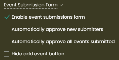 print screen of the area where you can set the Event Submission form for your calendar users