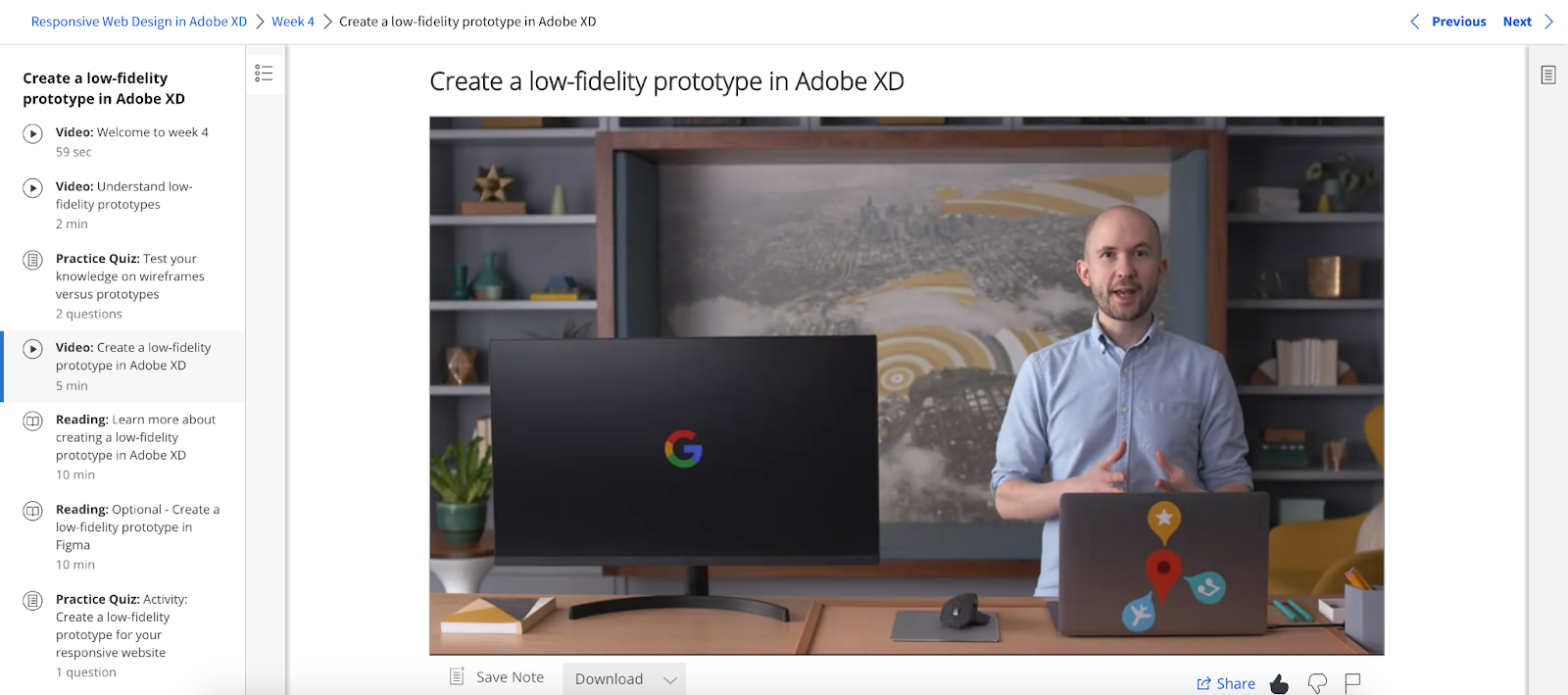 A screenshot from the Google UX Design Certificate course covering how to create low-fidelity prototypes in Adobe XD.