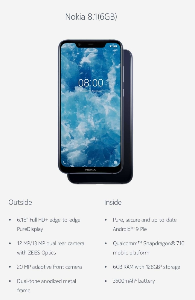 nokia 8.1 price in india Battery