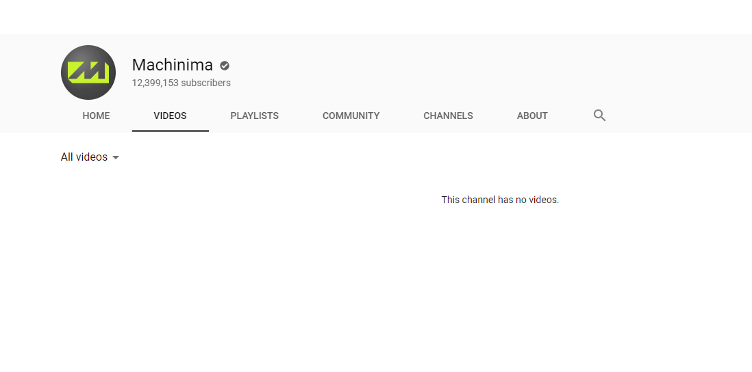 An empty Machinima channel page, without any videos.