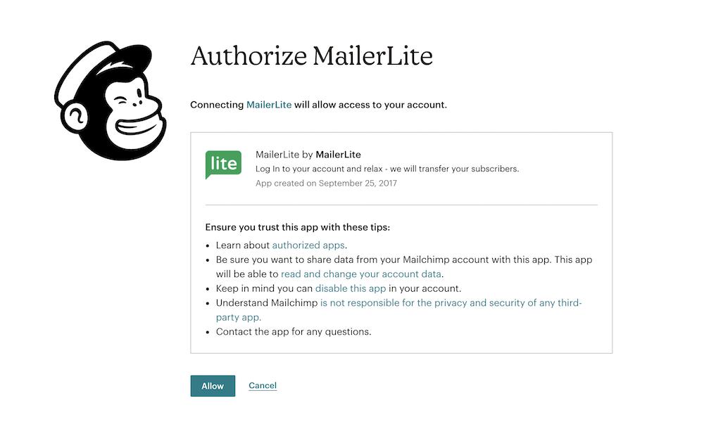 Authorize MailerLite in MailChimp