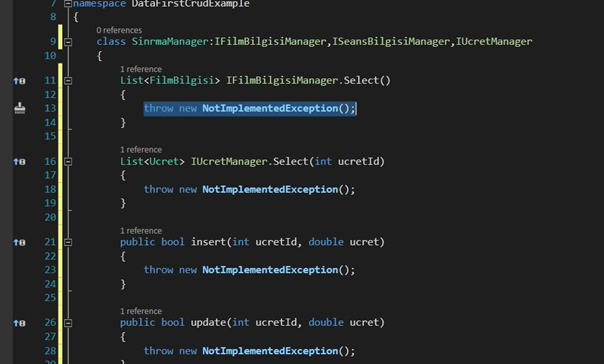 ISeansBilgisiManager interface içeriği