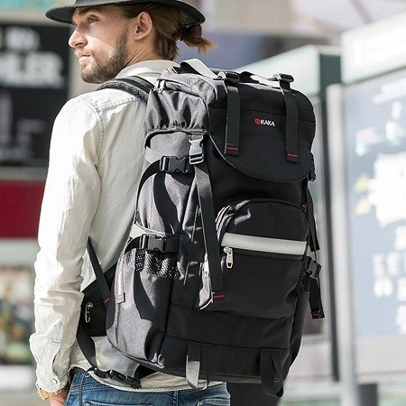 man with stylish backpack