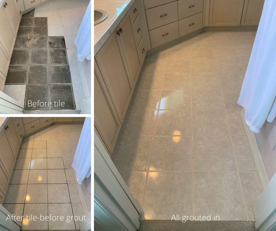 Before and after Hammond Knoll cleaned and regrouted dirty tile