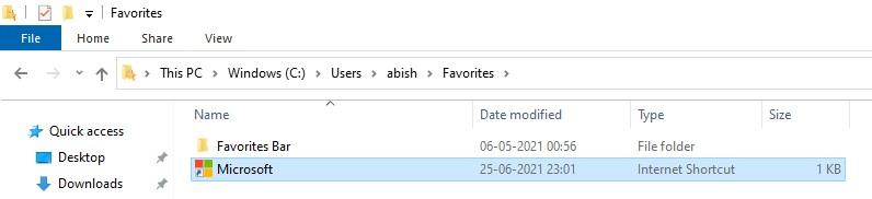 The Favorites folder in Windows File Explorer