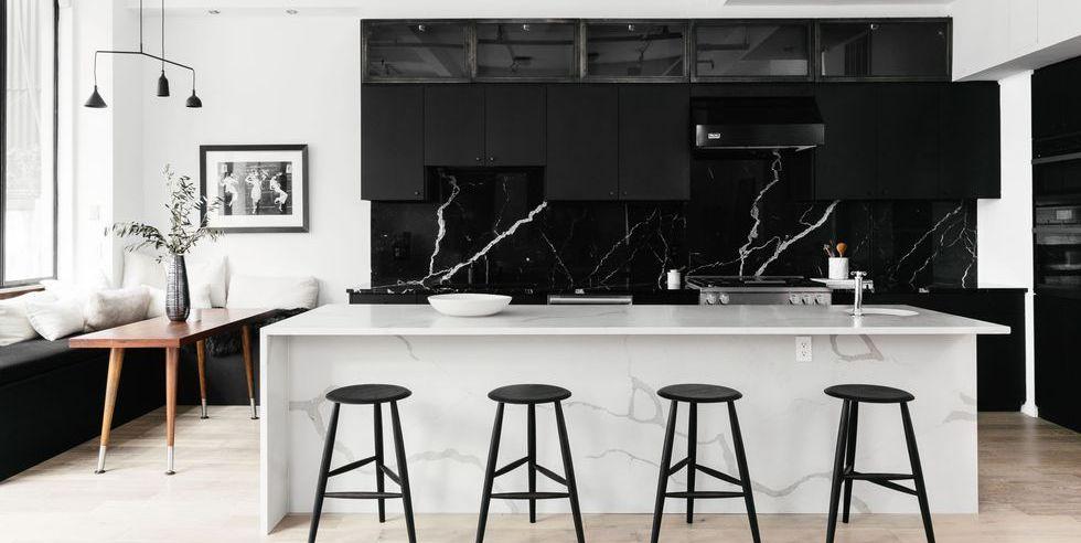 Desain Interior Dapur Skandinavia dengan Aksen Marbel – source: pinterest.com