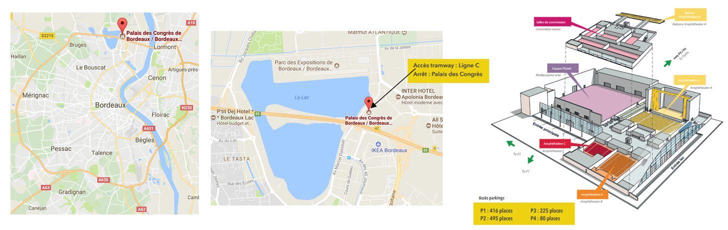 Plans d'accès au Palais des Congrès de Bordeaux-Lac - 1er étage - Salles E1 et E2