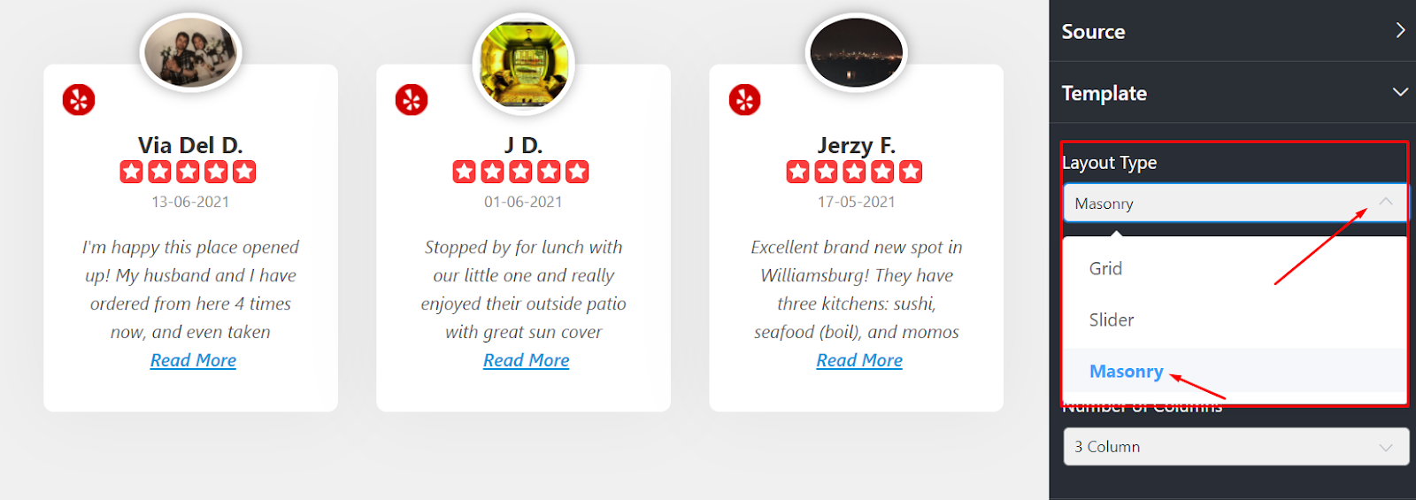 Yelp reviews layout type