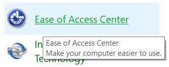open the Ease of Access center