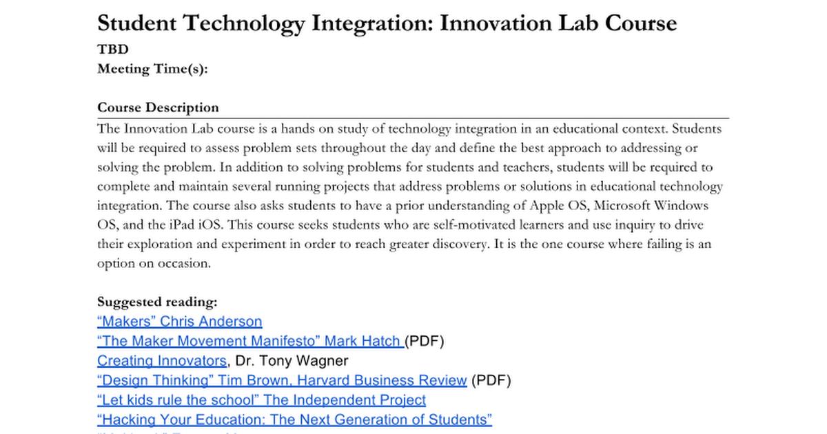 Innovation Lab Course (Student Help Desk) - Google Docs